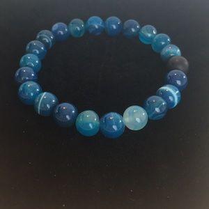 Men's Blue Agate & Matte Onyx Stretch Bracelet